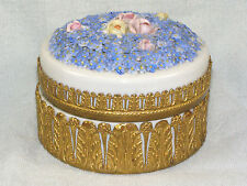 Large German Elfinware Porcelain & Brass Powder Jar - Blue Miniature Flowers