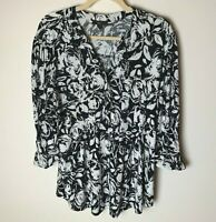 Vera Rose Women's Top Size 2X Roll-Tab 3/4 Sleeves Textured Studded Black White