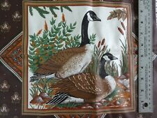 """Set TWO Mirror image Canada Goose fabric panels quilt top NEW 17"""" Square Brown"""