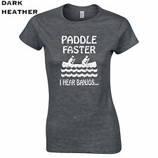 345 Paddle Faster I hear Banjos Womens T-Shirt funny deliverance 80s scary movie