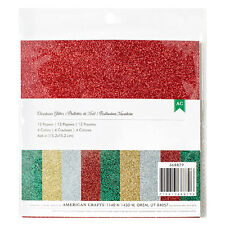 American Crafts CHRISTMAS GLITTER 6x6 Paper Pack (12) Sheets (4) Colors HOLIDAY