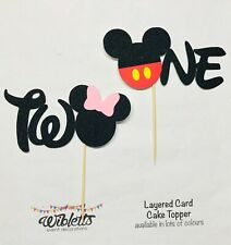 MICKEY MINNIE MOUSE THEME ONE 1 1st or TWO 2 2nd BIRTHDAY PARTY CAKE TOPPER EARS