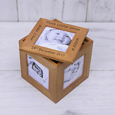 Personalised Oak Photo Cube New Baby Picture Memory Box Christening Newborn Gift