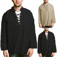 Vintage Hommes 100% coton T-shirt ample chemises à manches longues à lacets Haut