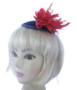 Large Navy and red fascinator Ladies Day Ascot Races, Prom , headband
