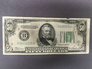 1934 $50 dollar Federal Reserve Note. Bank of New York
