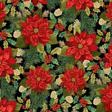 Fabric #2498 Large Red Poinsettias on Black, Gold Metallic, Sold by 1/2 Yard
