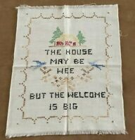 The house may be wee but the welcome is big 1949 Vintage Child's needlework