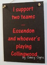 Essendon Bombers v Collingwood Aussie Rules Footy Sign Wooden Bar Pub Man Cave