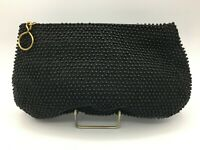Vtg Pin Up 1950's Caviar Beadette by Lumured Black Beaded Purse Handbag Clutch
