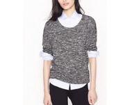 J. Crew Women's Scoop Neck Wool Blend Sweater Jaspe Popover Gray S EUC