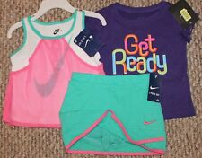 New! Girls Nike Summer 3 pc Outfit/Set/Lot (2 Shirts; Skort; Pink) - Size 24 mo