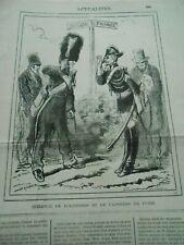 Caricature 1876 Gendarme Belgique France échange de politesse et de caissiers