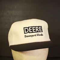 Vintage John Deere K Products Trucker Hat Cap Snapback Retro White Davenport