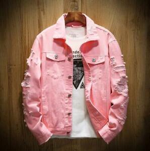 Men's spring and autumn new hole denim jacket loose long-sleeved denim jacket