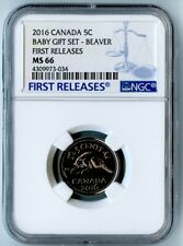 2016 Canada Ngc First Releases Ms66 Baby Gift Set-Beaver Nickel 5C!