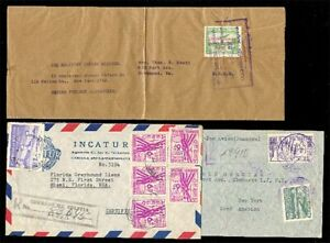 (T0179) BOLIVIA - 1940s x3 AIRMAIL COVERS TO USA MULTIPLE FRANKINGS