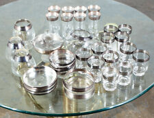 Mid Century Modern Glassware Barware Dorothy Thorpe Silver Lined 35 pc Set Mcm