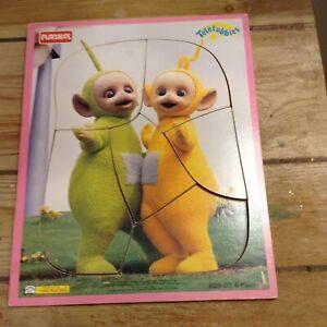 Playskool Wood Puzzle Teletubbies #629-02 VGC 6 Pieces 1998