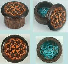 Antique Tunbridge Ware Bead / Pin Box * English * Circa 1880