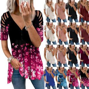 Damen V-Neck Schulterfrei T-Shirt Sommer Oberteile Bluse Freizeit Tunika Tops DE