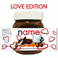 PERSONALISED NOVELTY ANNIVERSARY GIFT NUTELLA LABEL FOR HIM HER New e