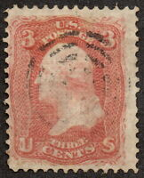1868 US, 3c stamp, Used, George Washington, Sc 85C, Z Grill, Cv 3750$