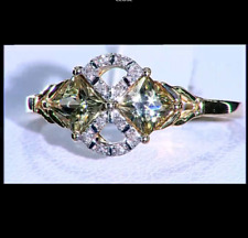 Csarite/Turkish Diaspore Princess Duet & Diamond 10K Yellow Gold Ring Size L-M/6
