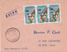 French Colonies Air Mail Grimari 1969 Cancels Multi Flowers Stamps Cover Rf44741