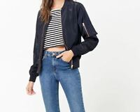 Forever 21 Womens Size Medium Navy Jacket Zip Front Bomber Jacket NEW