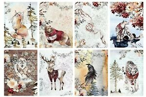 CHRISTMAS WINTER ANIMALS -  2 x A4 SHEETS OF CARD TOPPERS - SCRAPBOOKING -250GSM