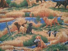 Vintage Duck Hunting Dog Dogs Shack Scene Cranston Fabric Remnant Cabin