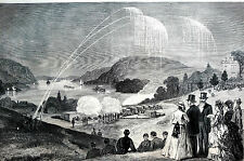 West Point NY 1871 CADETS w GRANT Sham Bombardment  -  Antique Matted Engraving