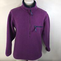 Vintage 90s L.L. BEAN DEEP PILE 1/2 Zip Fleece Women's Medium M Purple USA Made