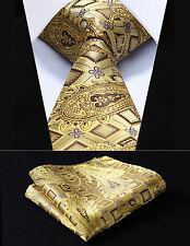 """TFC013D8S Gold Check 3.4"""" Silk Woven Men Tie Necktie Handkerchief Set"""