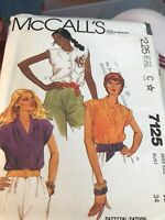 "McCall's Sewing Pattern Women's BLOUSE TOP SHIRT 7125 Size 12 Bust 34"" UNCUT"