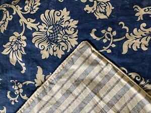 CHAPS Ralph Lauren Dark Blue Floral Stripe King Cotton Duvet ~ Reversible