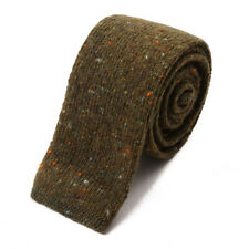 New $230 ISAIA NAPOLI Olive Green Melange Soft Knit Wool and Cashmere Tie