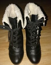 Lucky black Lace-Up Boots Shoes Leisure Ankle Boots High-Heel Boots Size 40