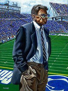 "Joe Paterno Penn State Original Fine Art Lithograph by Bernie Hubert 8.5""x11"""