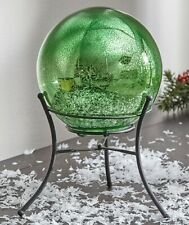 Green Mercury Glass Lighted Gazing Ball W/ Stand & Timer Led Fairy Lights Decor