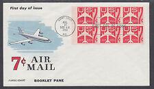 US Mel C60a-9 FDC. 1960 7c red Jet, Booklet Pane of 6, Fluegel Color Cachet, VF