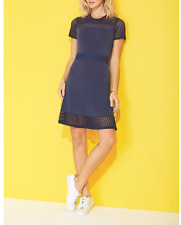 Michael Kors True Navy Lace Mesh Fit & Flare Dress Size Small NWTS
