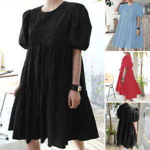 ZANZEA 8-24 Women Short Sleeve Mini Sundress Flare Swing Tiered Babydoll Dress