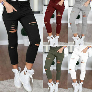 Women Skinny Ripped Long Pants High Waist Stretch Jeans Pants Pencil Trousers $$