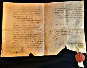 LOUIS XVI SIGNED LETTER ON LARGE PARCHMENT WITH SUPERB RED WAX ROYAL SEAL - 1780
