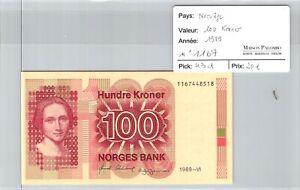 BILLET NORVEGE - 100 kroner 1989 n°1167 - Pick 43d