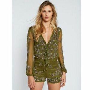 Free People Olive Green Embellished Mimi Romper Jumpsuit Size 6