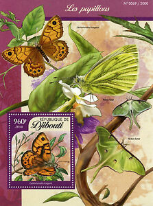 Djibouti 2016 MNH Butterflies 1v S/S Insects Wall Brown Butterfly Stamps