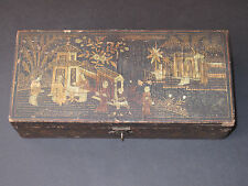 "Chinese Antique Black Lacquer Wood Box Hand Painted w/ Gold Hinged 9"" Long"
